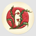 Christmas Holly Monogram O Envelope Seals Classic Round Sticker