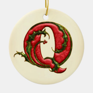 Christmas Holly Monogram Q Ceramic Ornament