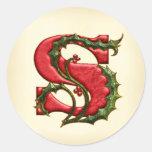 Christmas Holly Monogram S Envelope Seals Classic Round Sticker