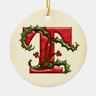 Christmas Holly Monogram T Ceramic Ornament
