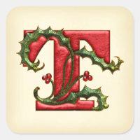 Christmas Holly Monogram T Envelope Seals