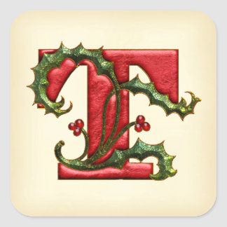 Christmas Holly Monogram T Envelope Seals Square Sticker