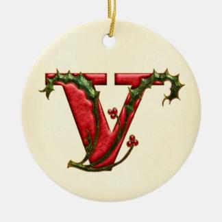 Christmas Holly Monogram V Ceramic Ornament