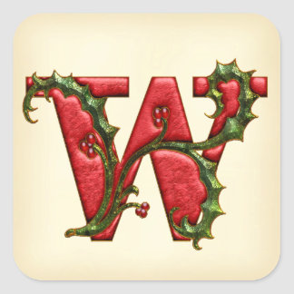 Christmas Holly Monogram W Envelope Seals