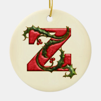 Christmas Holly Monogram Z Ceramic Ornament