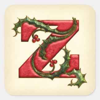 Christmas Holly Monogram Z Envelope Seals Square Sticker