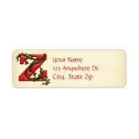 Christmas Holly Monogram Z Label