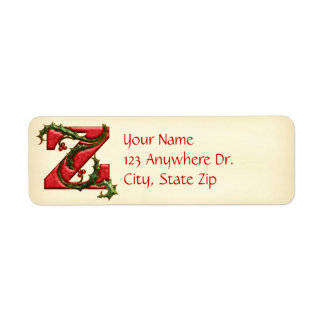 Christmas Holly Monogram Z Return Address Label