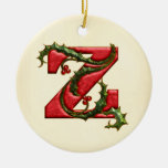 Christmas Holly Monogram Z Double-Sided Ceramic Round Christmas Ornament