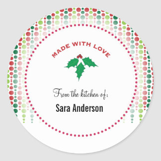 Christmas holly, Personalized from the kitchen of Classic Round Sticker