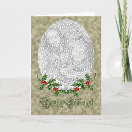 Christmas Holly Photo Frame Card card