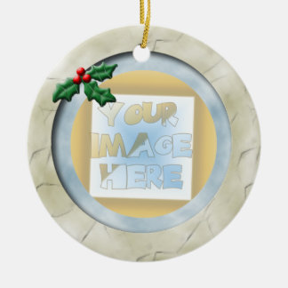 Christmas Holly Photo Frame: Ivory and Blue Ceramic Ornament