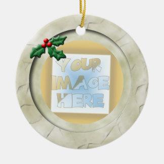 Christmas Holly Photo Frame: Ivory Ceramic Ornament
