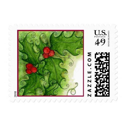Christmas Holly Postage Stamp