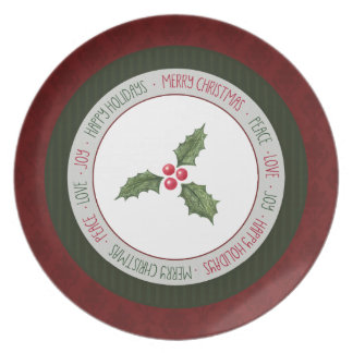 Christmas Holly Red Green Holiday Plate