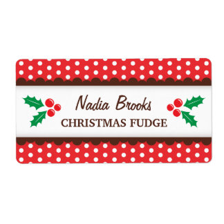 Christmas holly red polka dots canning jar label