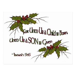 Christmas Holly Religious, Isaiah, Elegant, Simple Postcard