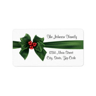 Christmas Holly Ribbon address label, customizable Label