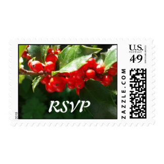 Christmas Holly RSVP Wedding Stamp