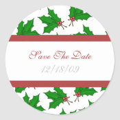 Christmas Holly Save The Date Stickers sticker