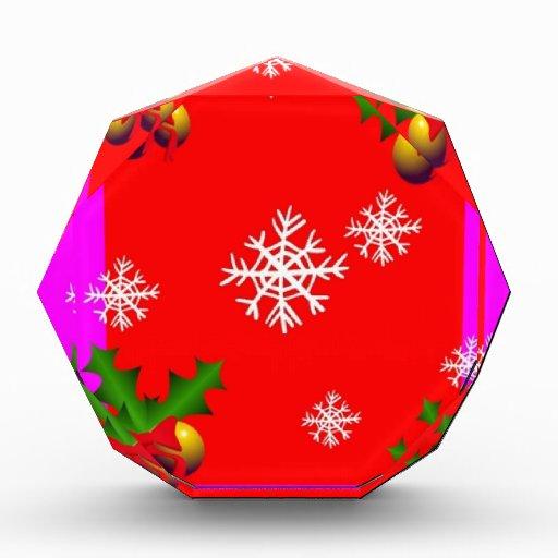 Christmas Holly & Snow Flakes Design By Sharles Acrylic Award