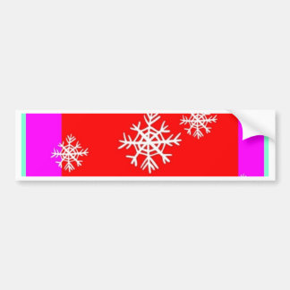 Christmas Holly & Snow Flakes Design By Sharles Car Bumper Sticker