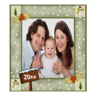 Christmas Holly & Snowmen Photo Template Poster
