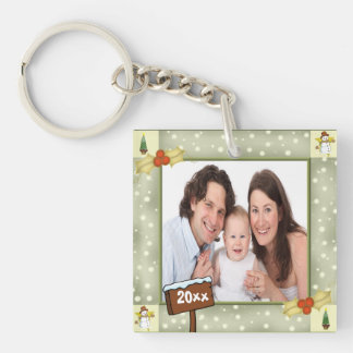 Christmas Holly & Snowmen Photo Template Single-Sided Square Acrylic Keychain