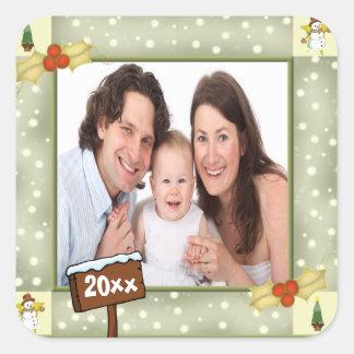 Christmas Holly & Snowmen Photo Template Square Sticker
