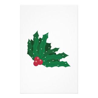Christmas Holly Customized Stationery