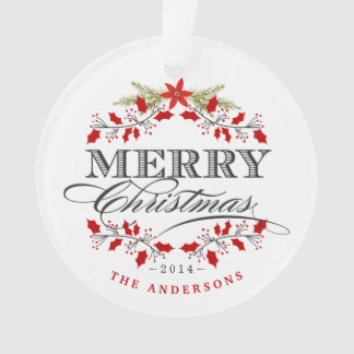 Christmas Holly Typography Family Photo Ornament