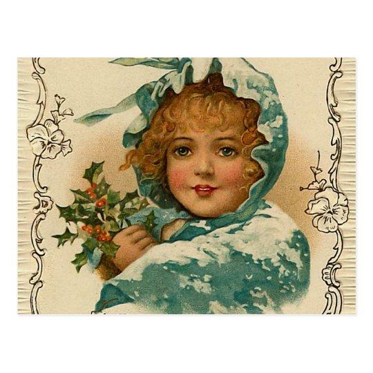 """Christmas Holly"" Vintage Postcard"