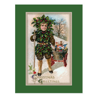 """Christmas Holly"" Vintage Postcard"