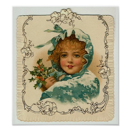 """Christmas Holly"" Vintage Poster"