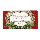 Christmas Holly W Gold Look Damask Kitchen Food Label at Zazzle