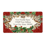 """Christmas Holly w Gold Look Ribbon n Damask Label<br><div class=""""desc"""">COLOR PALETTE: Red, green and gold with cream DESIGN COLLECTION: These labels can be used for return addressing your Christmas cards or if you delete the text you can print your own addresses on the blank labels. The background pattern is a hand painted watercolor red damask print with holly leaves...</div>"""
