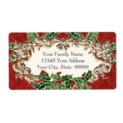 Christmas Holly w Gold Look Ribbon n Damask Label