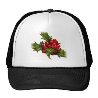 Christmas Holly With Berries and Snow Art Mesh Hat