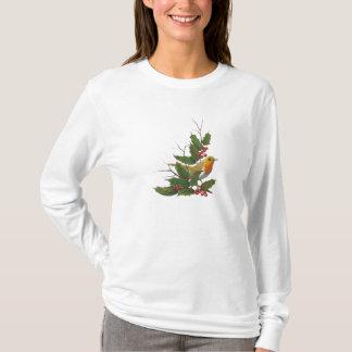 Christmas Holly with English Robin: Original Art T-Shirt