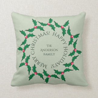 Christmas Holly Wreath and Pattern Personalized Pillow