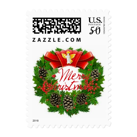 Christmas Holly Wreath Angel Postage