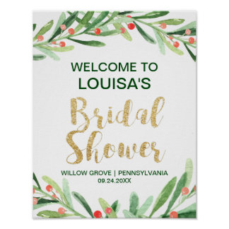 Christmas Holly Wreath Bridal Shower Welcome Poster