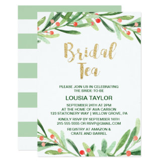 Christmas Holly Wreath Bridal Tea Invitation
