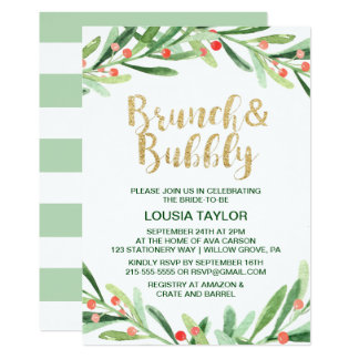 Christmas Holly Wreath Brunch & Bubbly Invitation