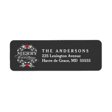 Christmas Themed Christmas Holly Wreath Chalkboard Address Labels
