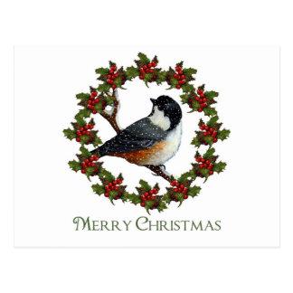 Christmas Holly Wreath, Chickadee: Original Art Postcard