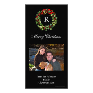 Christmas Holly Wreath Classic Black Holiday Card