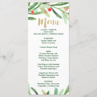 Christmas Holly Wreath Dinner Menu Card