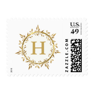 Christmas Holly Wreath Gold Holiday Monogram Postage