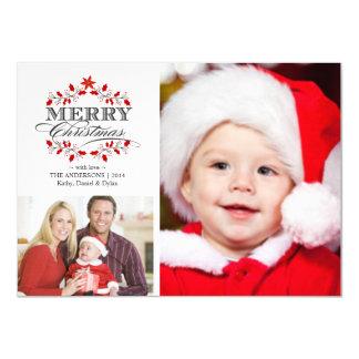 Christmas Holly Wreath Holiday Photo Card Custom Announcements